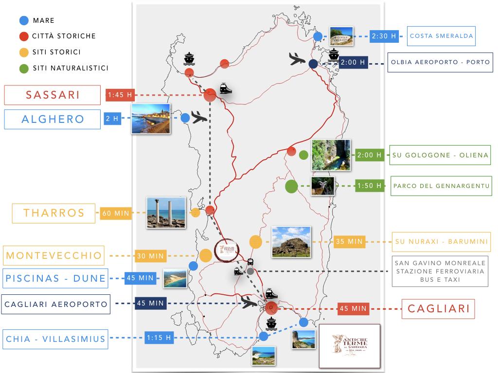 Cartina Sardegna Con Aeroporti.Territorio Terme Di Sardara Dove Siamo Cartina Sardegna